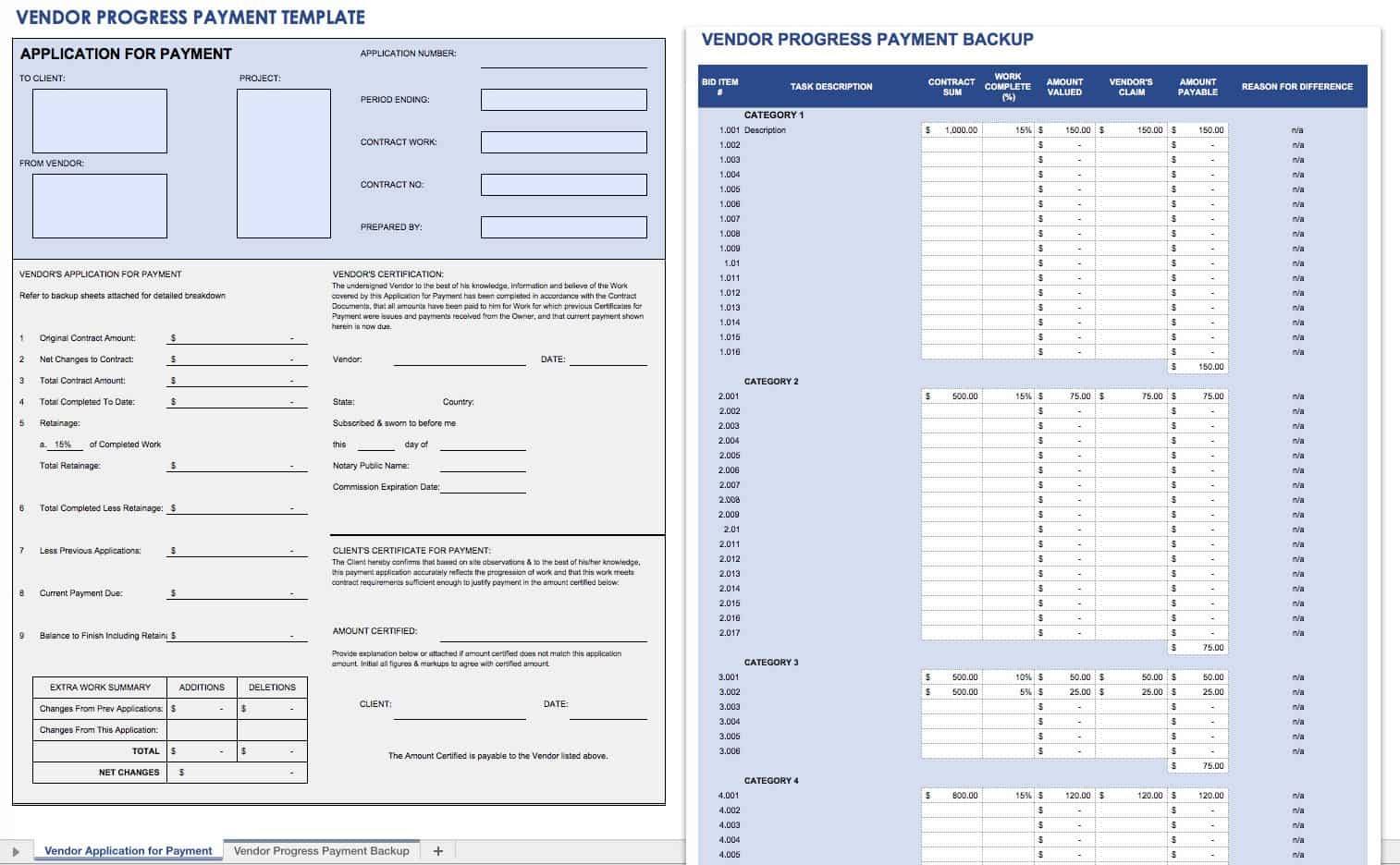 Vendor Progress Payment Template