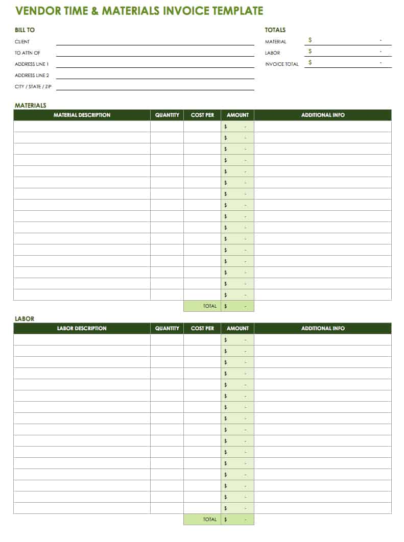 Vendor Time and Materials Invoice Template