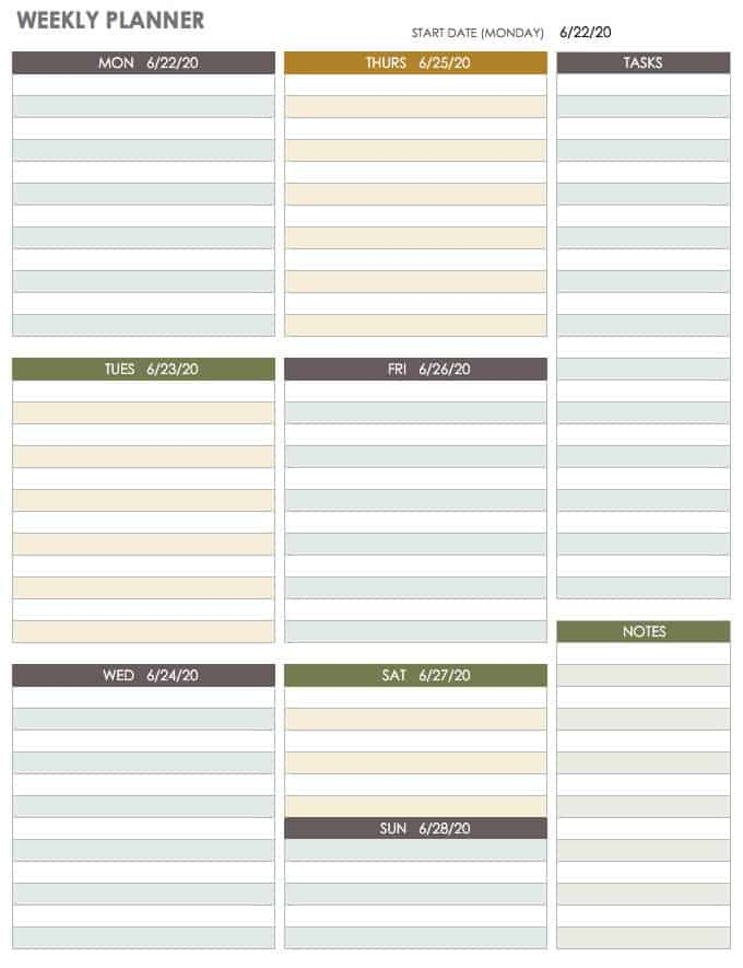 image regarding Free Weekly Planner Printables called 15 Free of charge Weekly Calendar Templates Smartsheet
