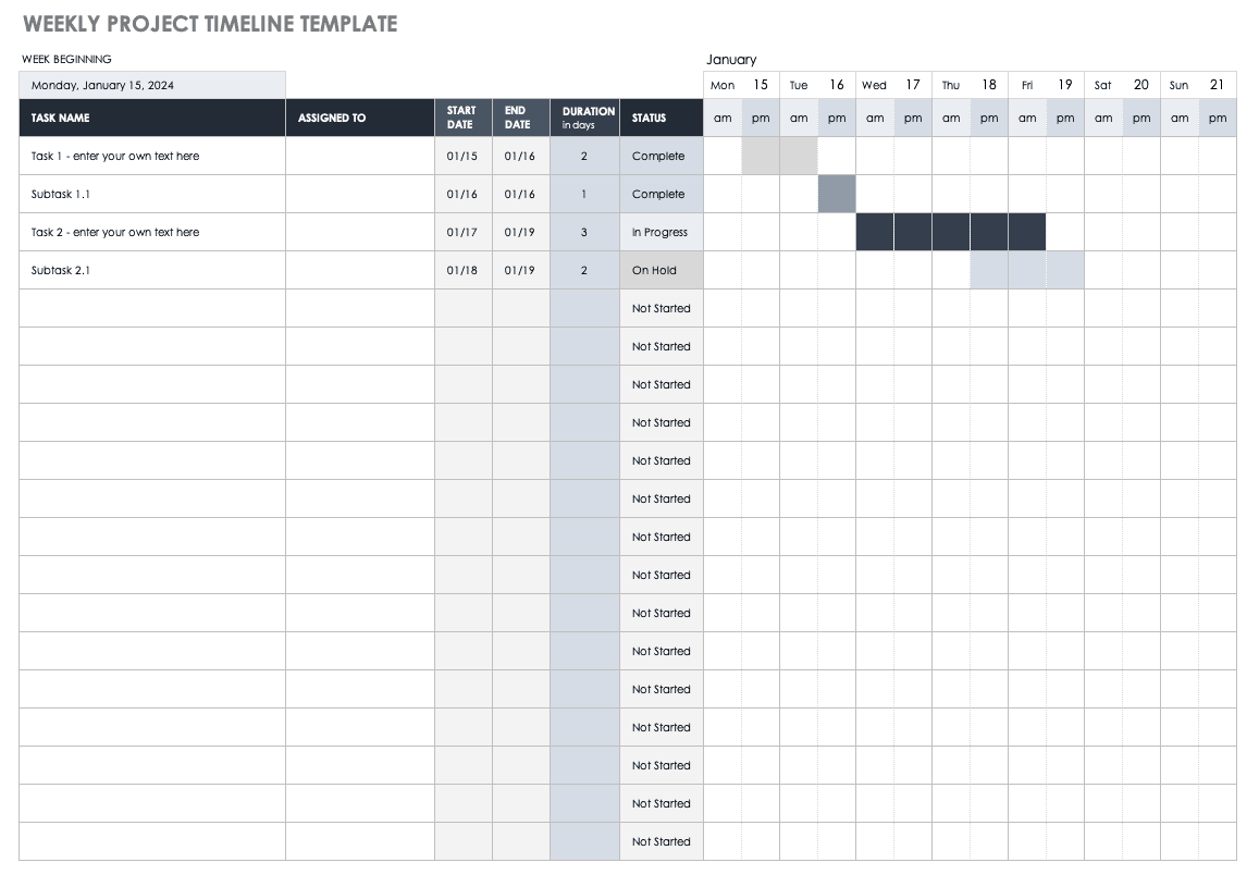 Weekly Project Timeline Template