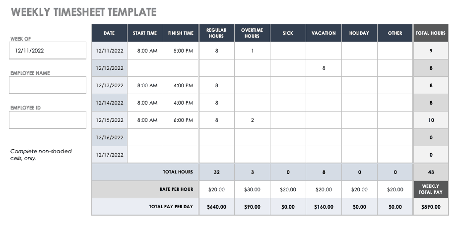 17 free timesheet and time card templates