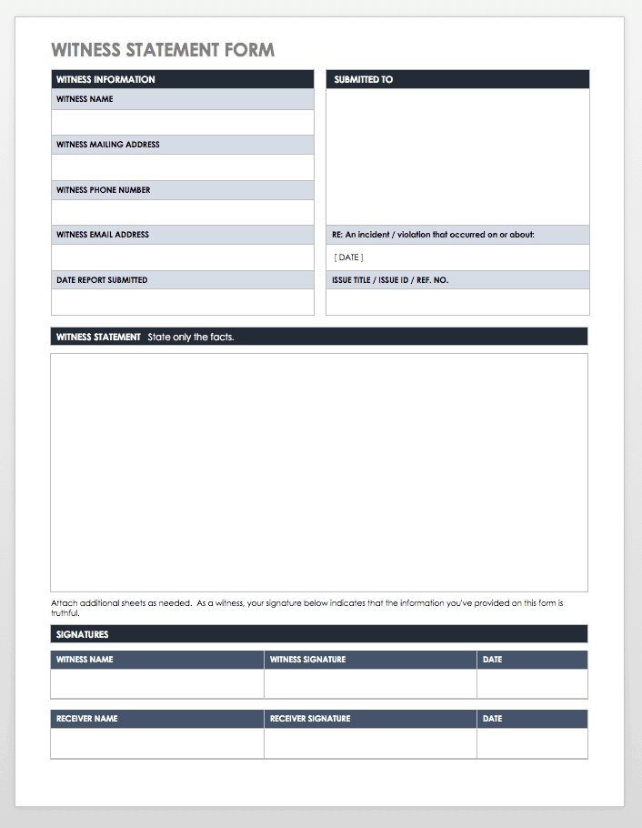 Witness Statement Form Template