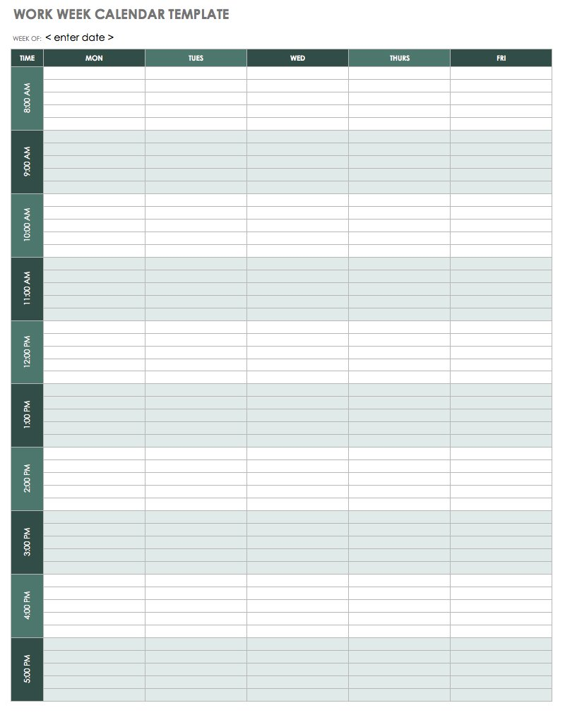 photograph about Weekly Agenda Printable referred to as 15 Absolutely free Weekly Calendar Templates Smartsheet