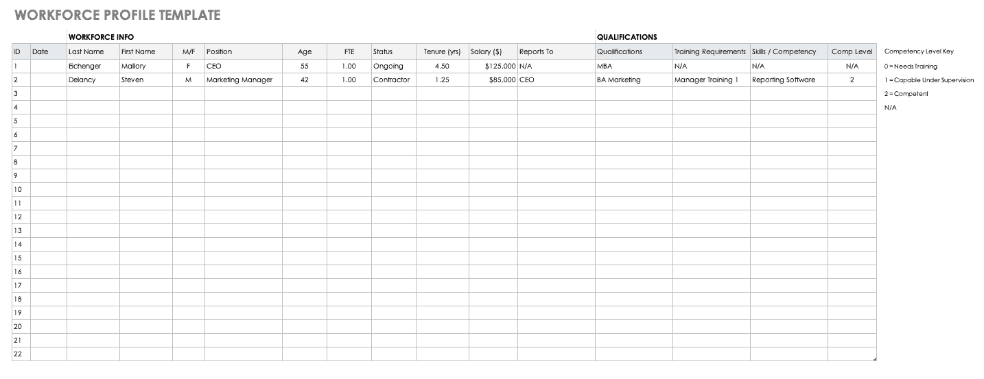 Workforce Profile Template