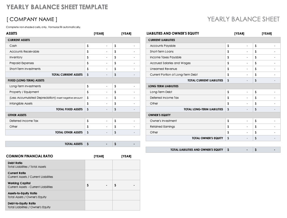 Yearly Balance Sheet template