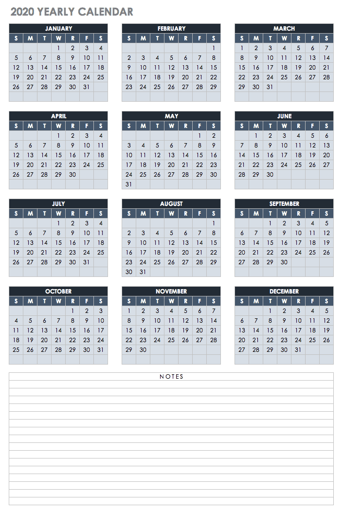 2020 Yearly Calendar Template Google Portrait