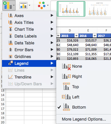 How to add a legend in Excel