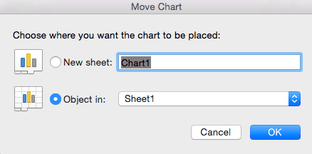 How to move an Excel chart