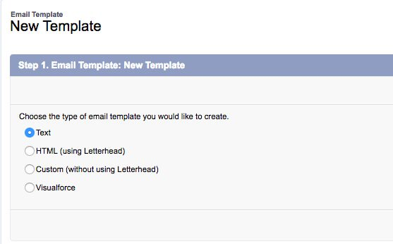 salesforce workflow new email template