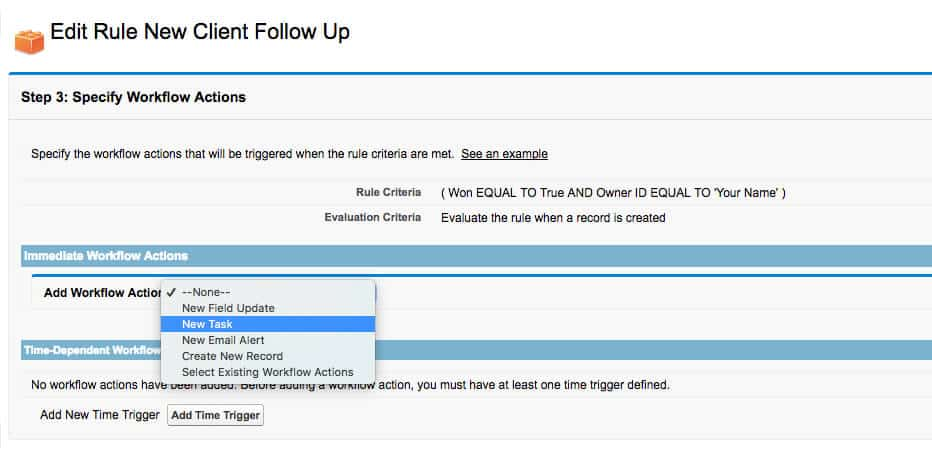 salesforce workflow specify workflow actions