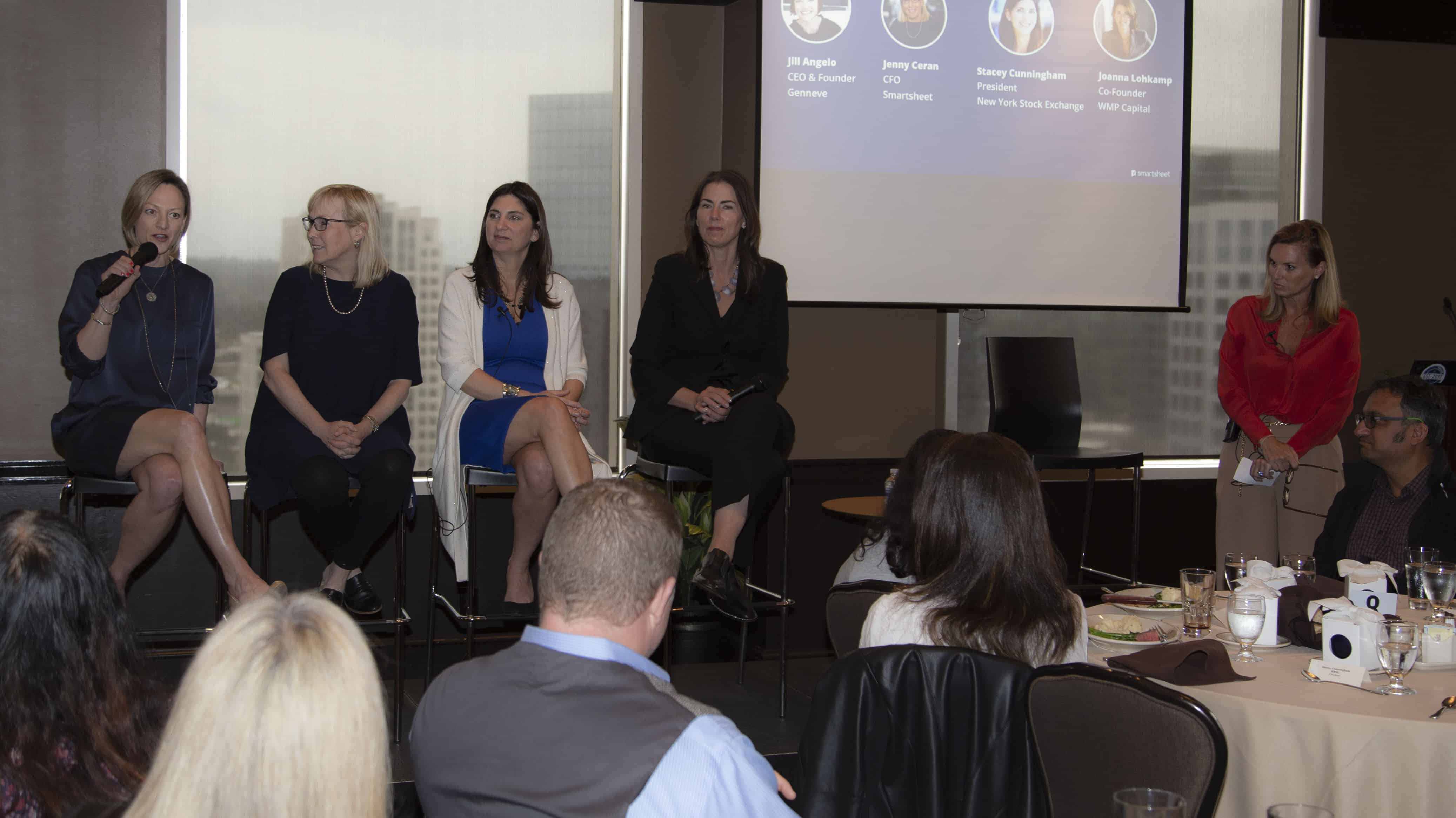 CEO Jill Angelo, CFO Jenny Ceran, President of the NYSE Stacey Cunningham, and Joanna Lohkamp on women in leadership panel discussion, hosted by Smartsheet