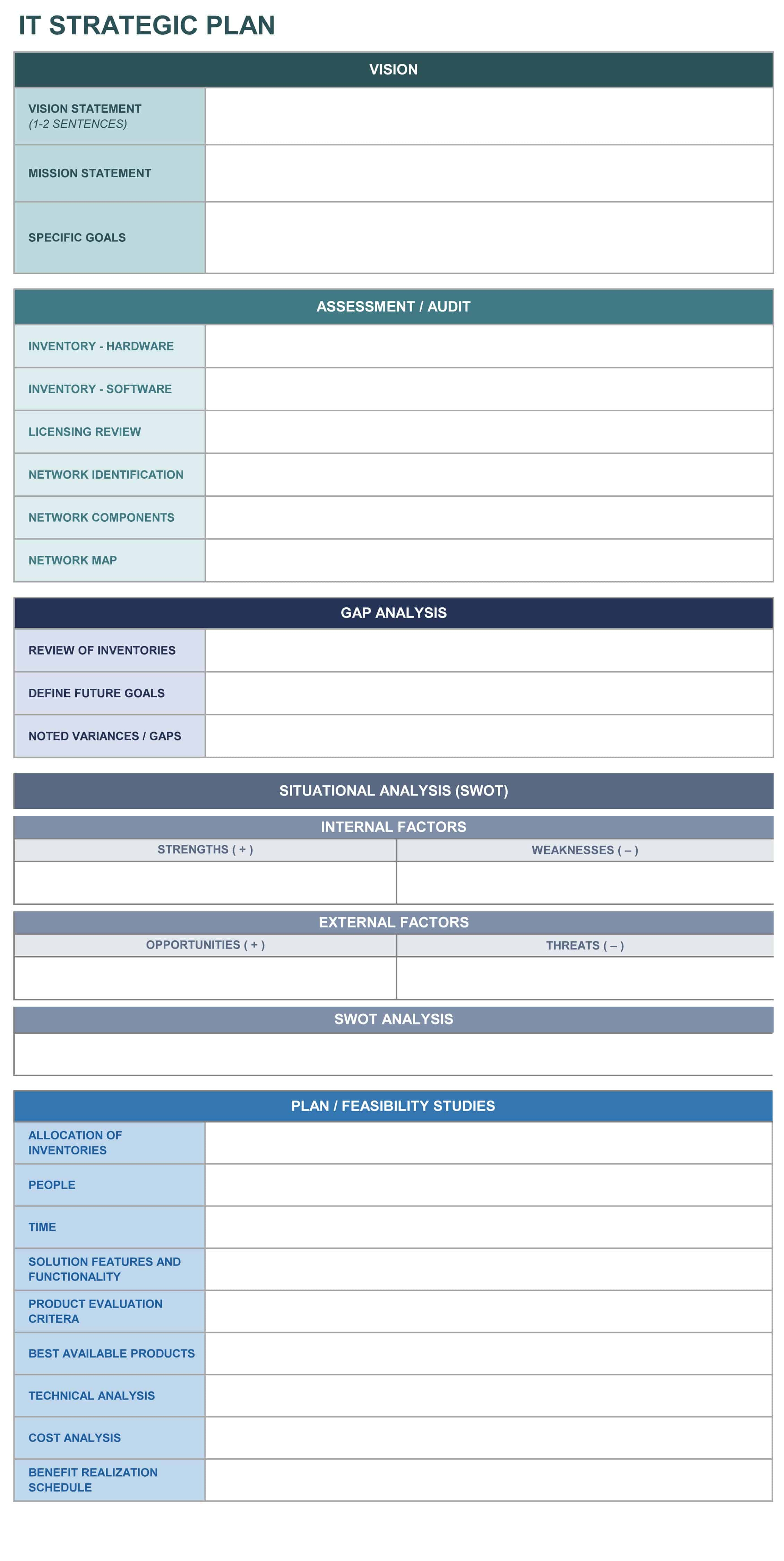 IT strategic plan excel template