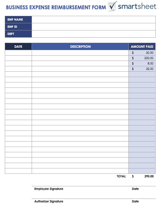 Free expense report templates smartsheet ic businessexpensereimbursementformg employees can use this expenses template to request reimbursement for business wajeb