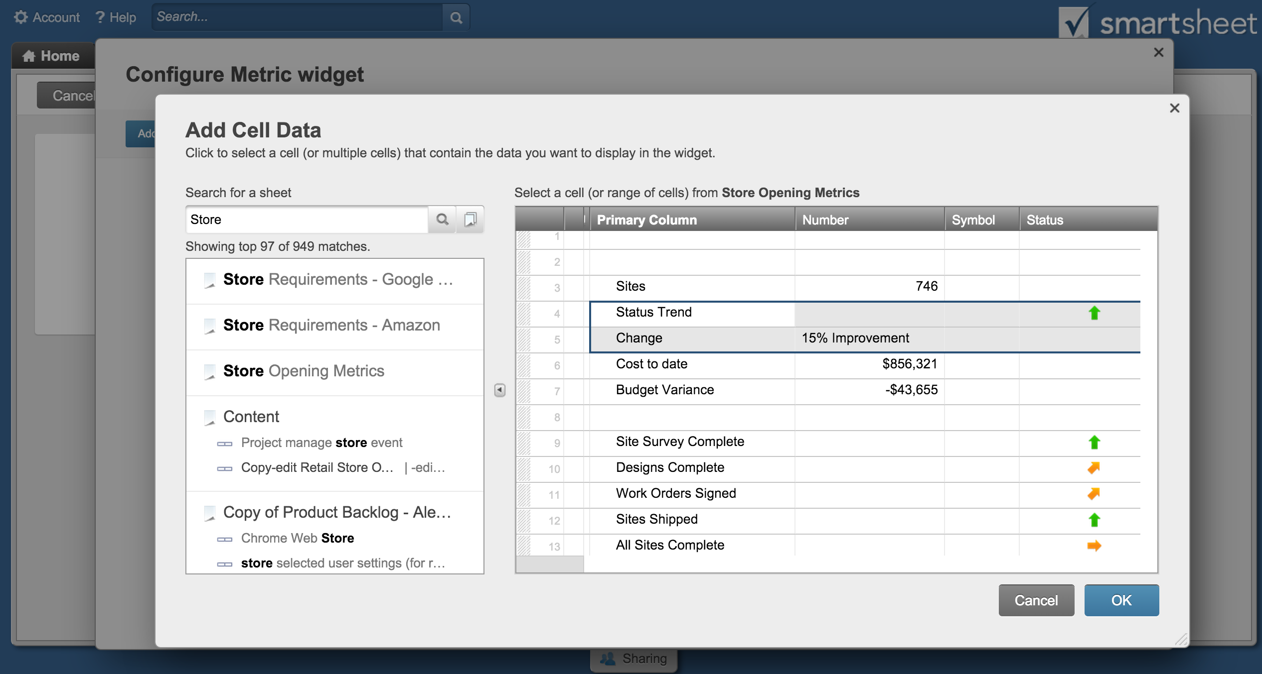 how to set up a project management dashboard in smartsheet