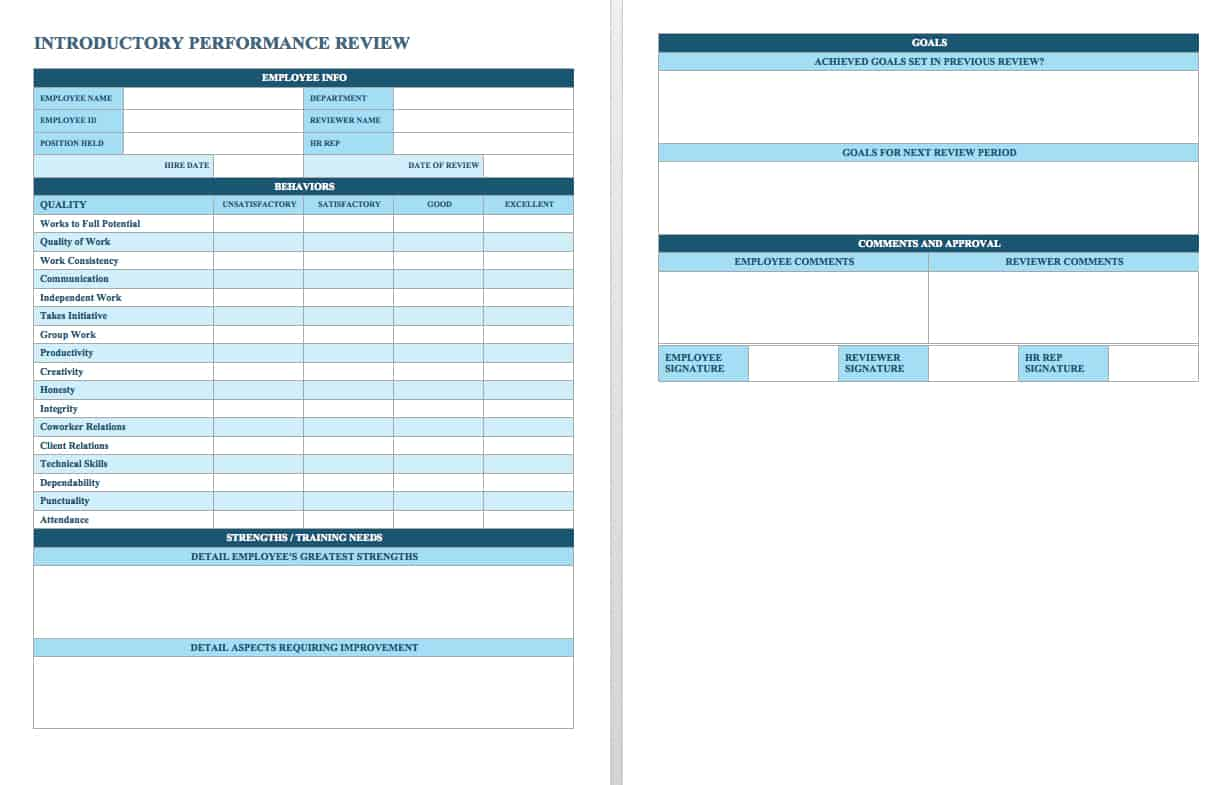 Awesome This Performance Review Template Offers A Simple Rating Scale For New  Employees As Well As Space For Providing Open Ended Feedback, Listing  Goals, ...