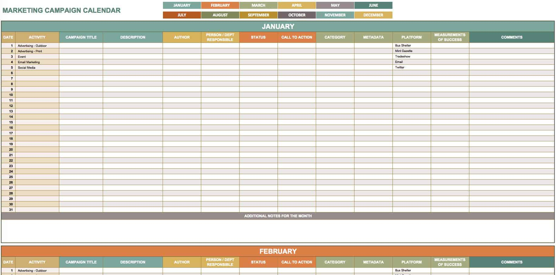 Free Marketing Calendar Templates For Excel Smartsheet - Content marketing schedule template