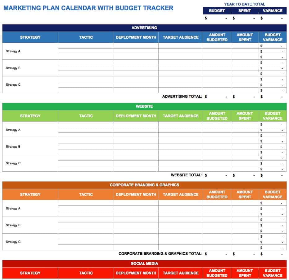 Use This Marketing Plan Calendar Template To Outline Your Strategies And Action Steps While Keeping Close Track Of Budget