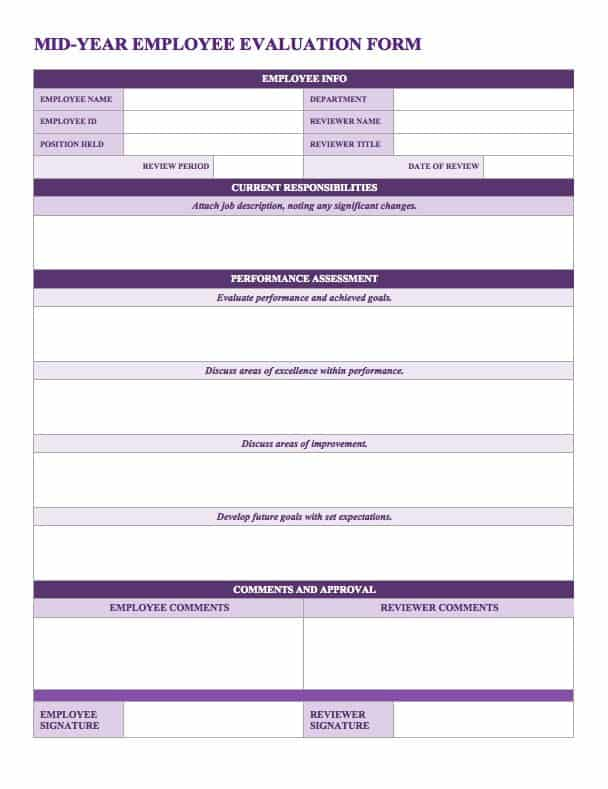 Elegant This Mid Year Employee Evaluation Form Provides A Simple Layout And Rating  Scale For Assessing Performance. On Performance Evaluation Templates