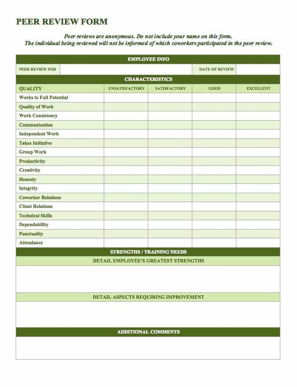 This Peer Review Template Is Intended For Organizations That Include  360 Degree Feedback In Their Evaluations. Competencies Are Rated Using A  Number Scale ...  Employee Appraisal Form Sample