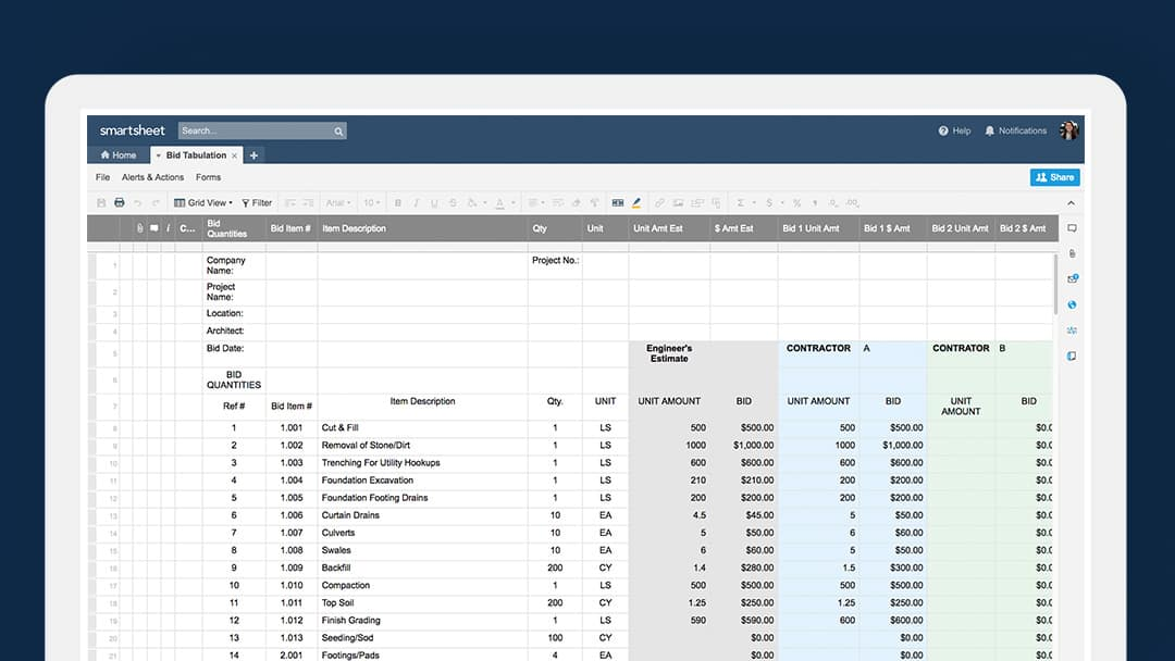 Bid tabulation template in Smartsheet