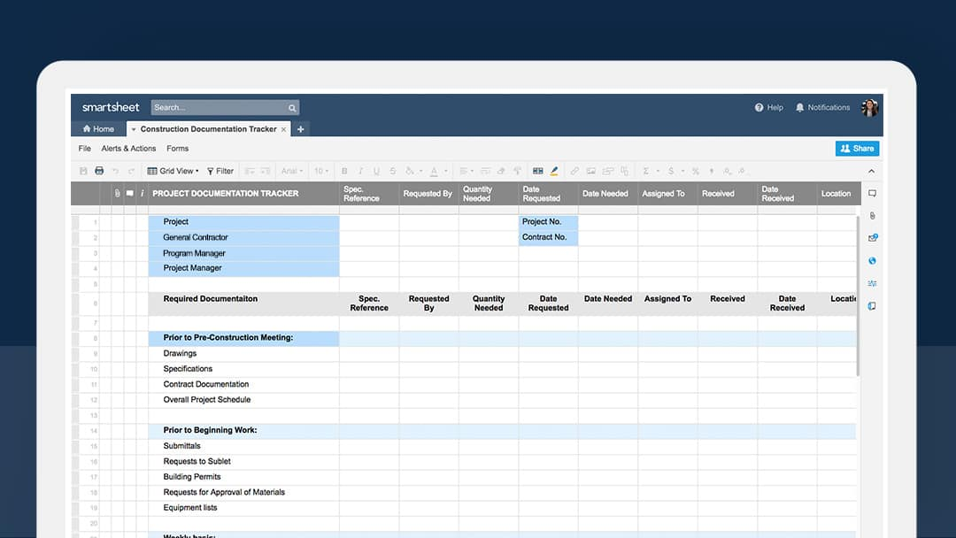 Construction documentation tracker in Smartsheet