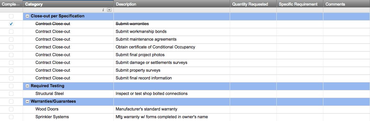 A spreadsheet template for construction closeout checklists.