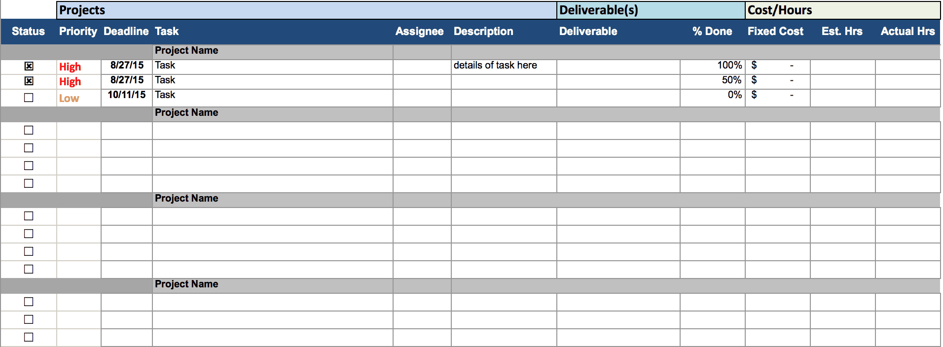 Project Tracking Template  Project Timetable Template