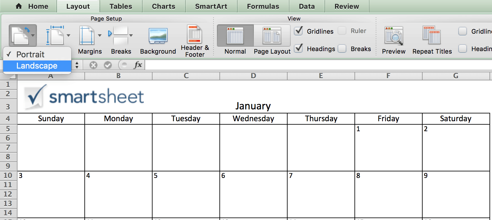 orientation calendar in excel