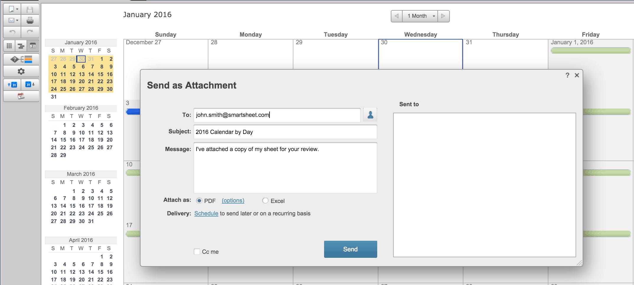 Send Smartsheet Calendar