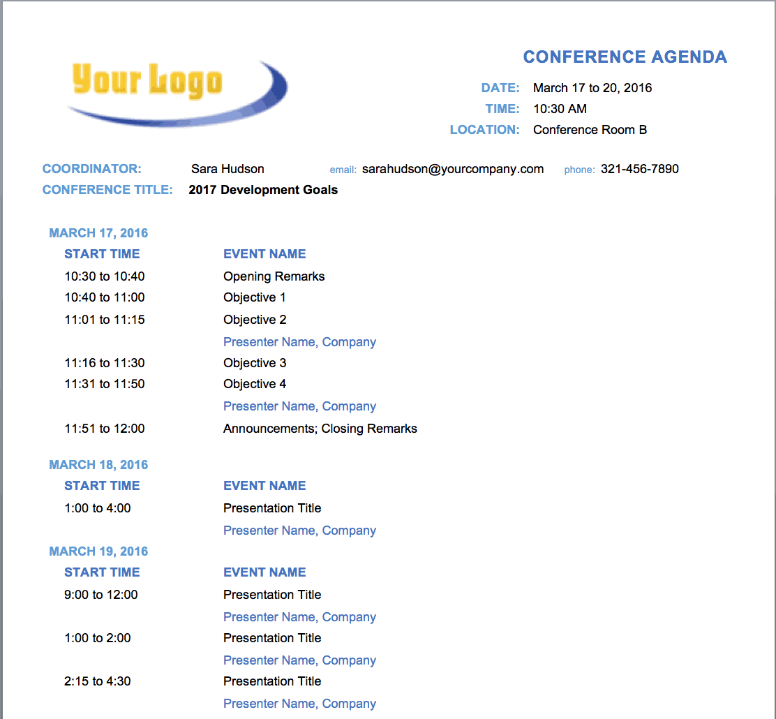 Make Conference Planning Easier With This Free Conference Agenda Template.  Fields For Date And Time, Event Names And Presenter Names Are Clearly  Marked. Intended Free Meeting Agenda Templates