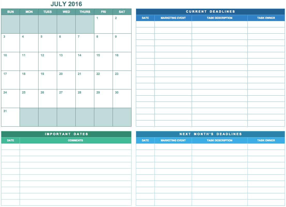 Free Marketing Calendar Templates For Excel Smartsheet - Google spreadsheet calendar template 2016