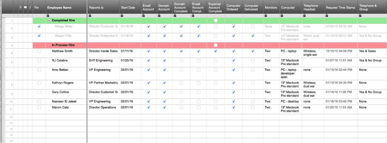 Smartsheet's New Hire Provisioning Sheet