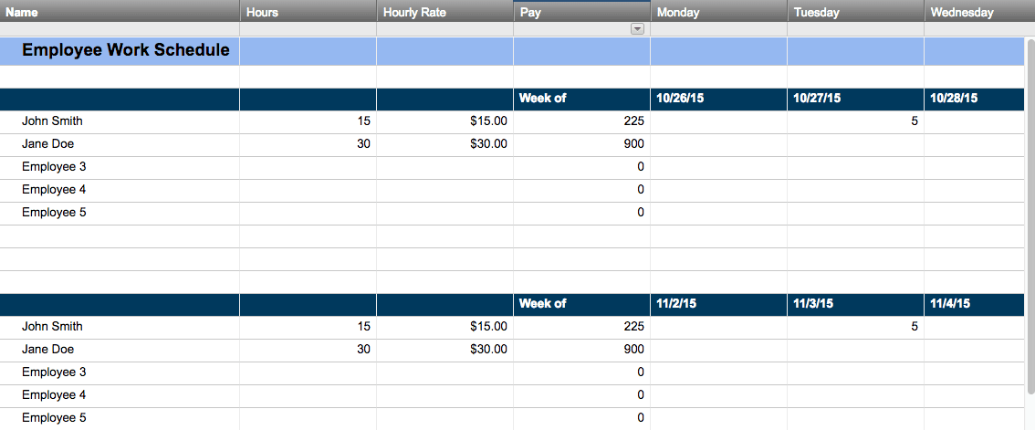 Free Work Schedule Templates For Word And Excel - Retail scheduling template