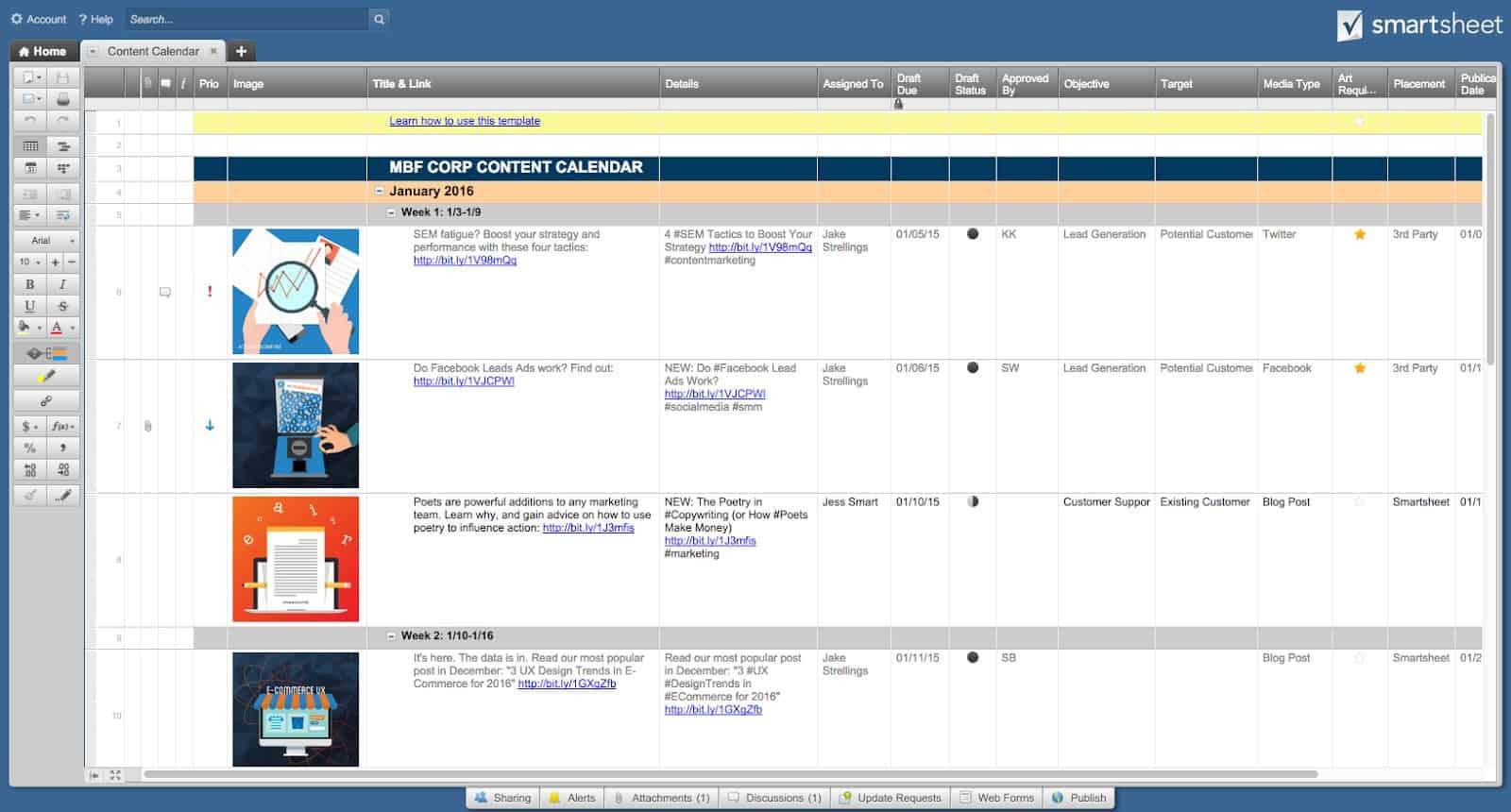Free Social Media Templates Smartsheet - Social media post planner template