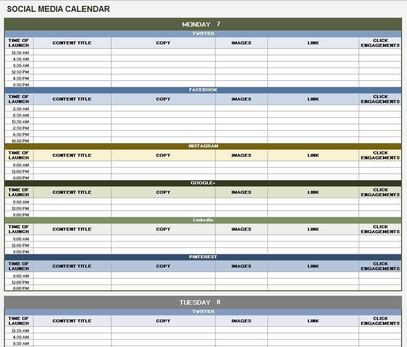 Free Social Media Templates Smartsheet - Facebook posting schedule template