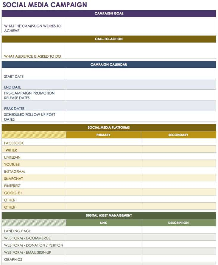 12 free social media templates smartsheet for Campaign schedule template