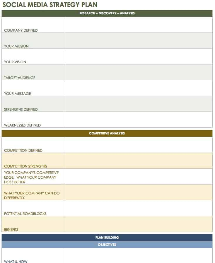 Free Social Media Templates Smartsheet - Social media content strategy template