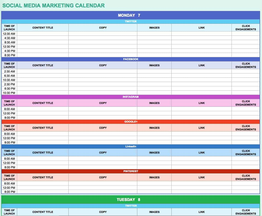 Free Marketing Calendar Templates For Excel Smartsheet - Social media content schedule template