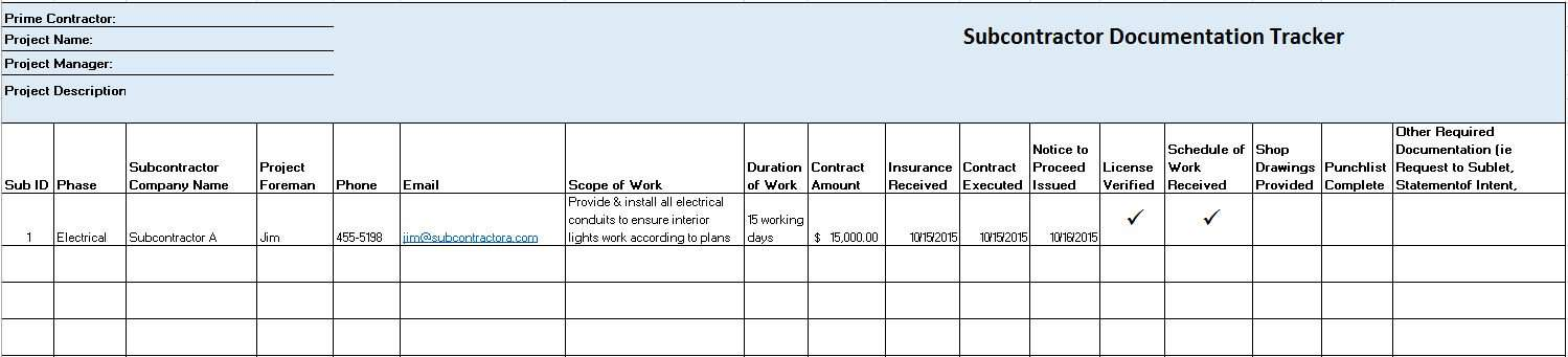 use this template to track subcontractor information scope of work and contract details