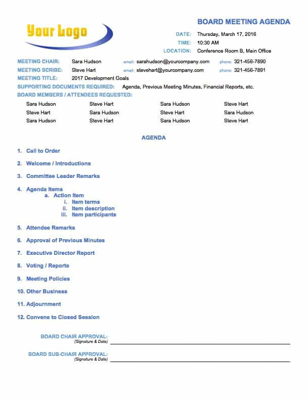 this board meeting agenda template outlines all the required steps for a formal board meeting or executive committee meeting when you distribute this