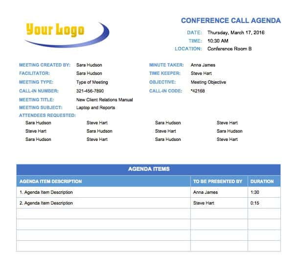 A Conference Call Needs To Stay Organized And On Track Just Like Any Other Meeting Use This Agenda Template Identify