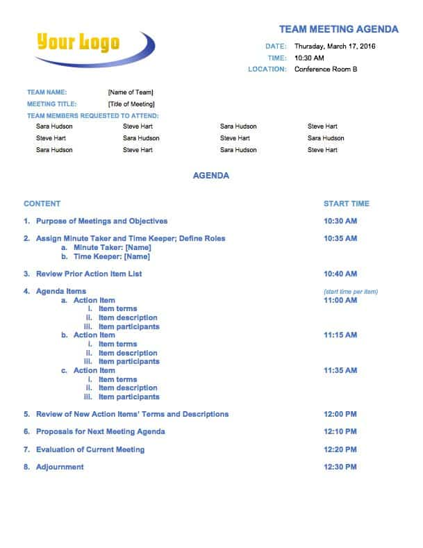10  free meeting agenda templates for microsoft word