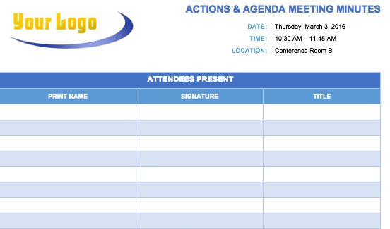 Meeting Minutes Actions And Agenda Template