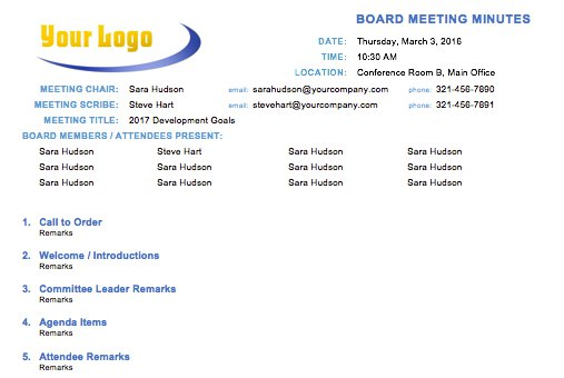 Free meeting minutes template for microsoft word for Board minute template