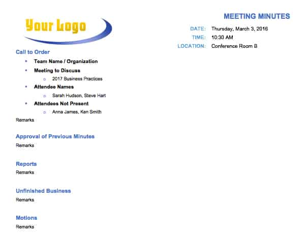 Free Meeting Minutes Template For Microsoft Word - Business hours template word