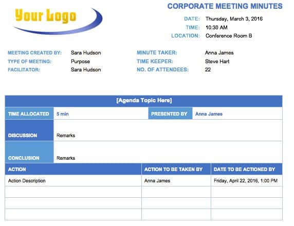 corporate meeting minutes template