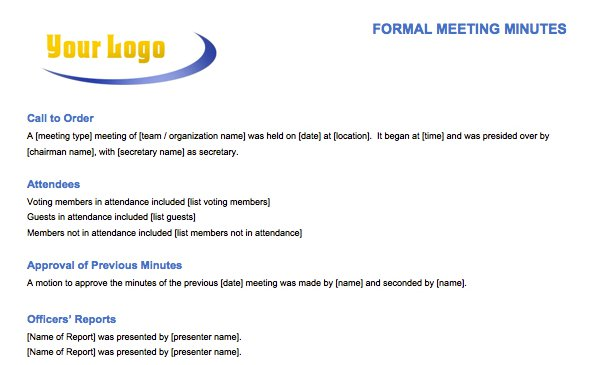 Formal Meeting Minutes Template