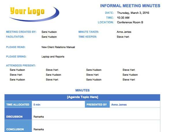 Free meeting minutes template for microsoft word informal meeting minutes template fbccfo