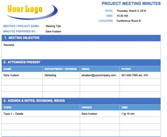 Free meeting minutes template for microsoft word project meeting minutes template fbccfo