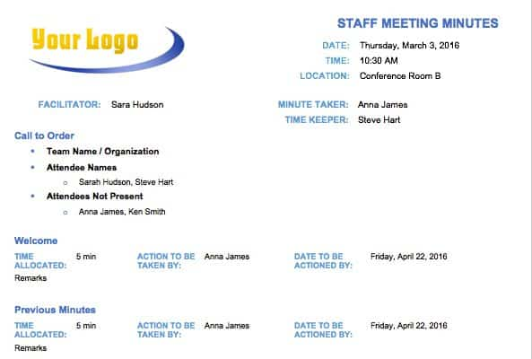 Free meeting minutes template for microsoft word staff meeting minutes template fbccfo
